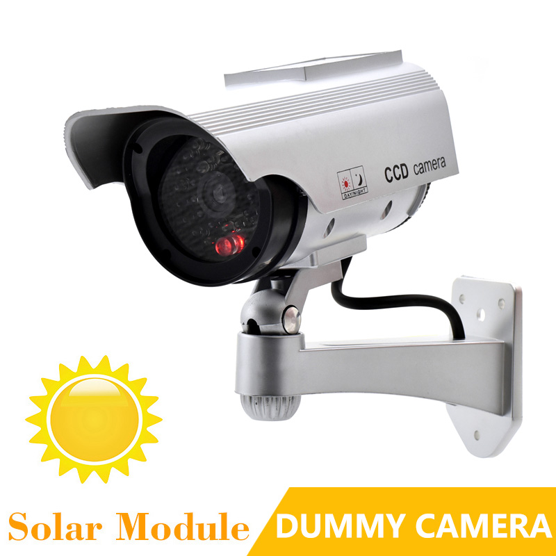 Solar Power Dummy Camera Realistic Simulation Fake Camera Bullet With IR Light Waterproof Outdoor Security CCTV Surveillance bullet camera tube camera headset holder with varied size in diameter