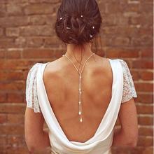 Модная сексуальная цепочка на спине, серебряная цепочка, Жемчужное Колье, женское элегантное Трендовое ожерелье, ювелирные украшение невесты Bijoux