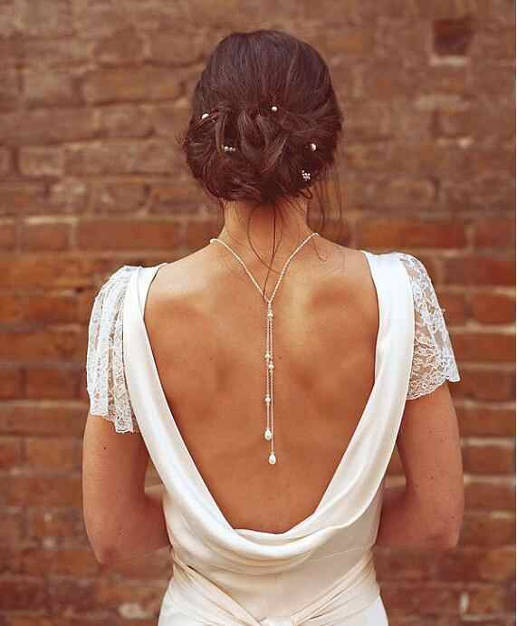 Fashion sexy back chain silver chain pearl choker necklace women elegant trendy statement necklace bridal jewelry bijoux 2016