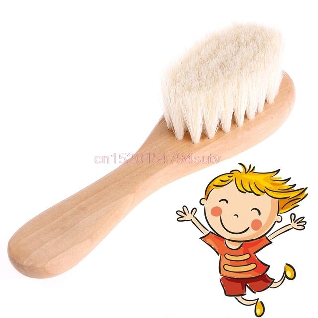 Wooden Handle Brush Baby Hairbrush Newborn Hair Brush Infant Comb Head Massager #H055#