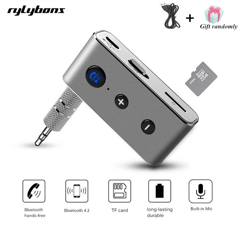 Rylybons Wireless Car Bluetooth Aux Receiver Adapter 4.2+EDR Aux Bluetooth Music Audio Receiver Bluetooth Handsfree Car Kit A2DP solar bluetooth v4 0 edr handsfree car kit