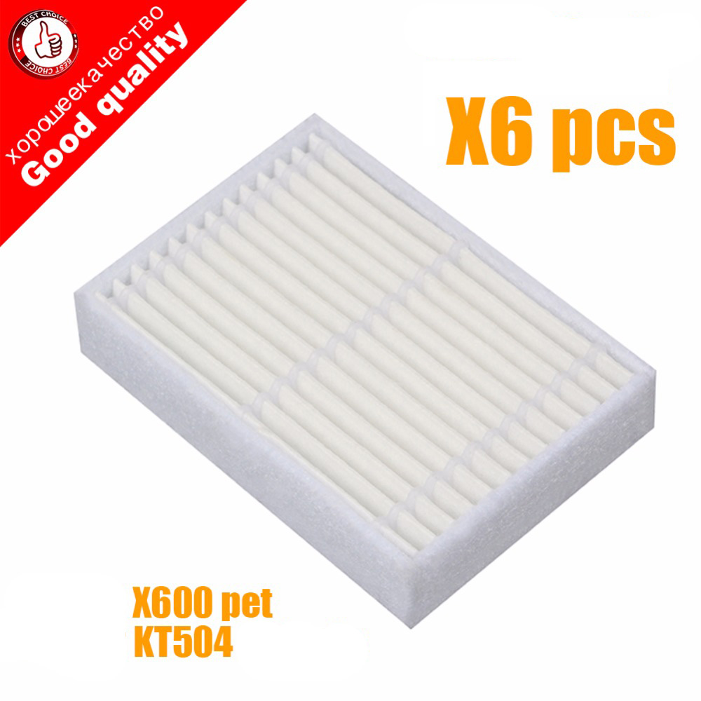 6pcs High Quality Replacement HEPA Filter For Panda X600 Pet Kitfort KT504 For Robotic Robot Vacuum Cleaner Accessories