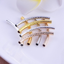 1pc  Spiral surface elbow hollow tube fashion necklace pipe diy copper jewelry accessories for women charm pendant making