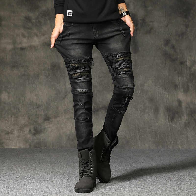 Yeni Erkek Yırtık Kot Pamuk Siyah Ince Sıska Motosiklet Kot Erkekler Vintage Sıkıntılı Denim Jeans Hiphop Pantolon Dropshipping