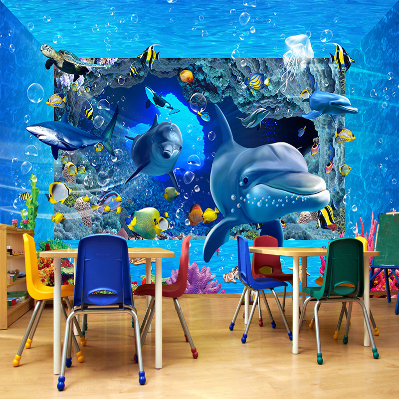 3d wallpaper custom mural underwater world ocean for Custom mural painting