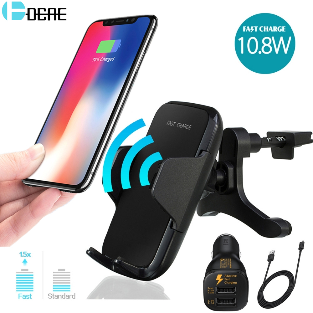 DCAE 2 in 1 Qi Wireless Charger Fast Charging for iPhone X 8 Car Phone Holder Air Vent Mount Stand for Samsung Galaxy S9 S8 Plus