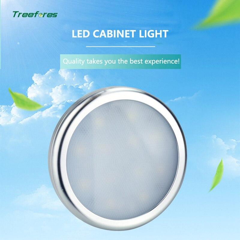 12V 2.5W LED Closet Lighting Furniture Shelf Light Under Cabinet Lights Round Aluminum Closet Lighting Kitchen Showcase Lamps