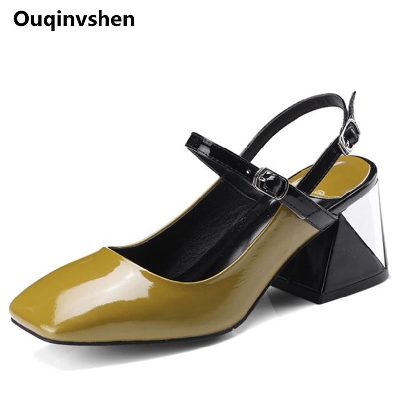 MSSTOR Mixed Colors Yellow High Heels Sandals Women Plus Size Square Toe Genuine Leather Fashion Pumps Buckle Strap Summer Shoes