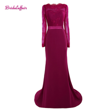 Real Photo Dark Red Satin Boat Neck Lace Mermaid Prom Dresses 2017 with Sashes Custom made Sweep Train Long Sleeve Evening Gowns