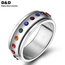 Гордость spinner вращающийся радуга любовь многоцветный хрусталь горный кристалл нержавеющей кольцо