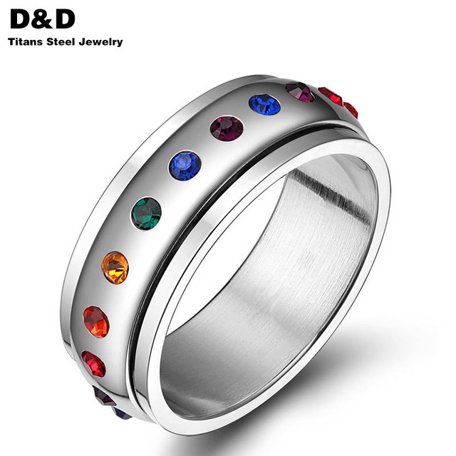 Fashion Rotating Spinner Ring Stainless Steel Ring For men Women With Rainbow Crystal Multicolor Rhinestone love Pride PR-003A