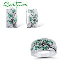 SANTUZZA de plata conjunto de joyería para mujer verde rama árbol de cerezo conjunto de anillo y pendientes de plata de ley 925 delicada joyería de moda