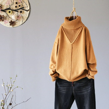 Winter New Turtleneck Women Sweaters And Pullovers Hot Pink Loose Thicken Warm Lady Pulls All Match Outwear Coat Tops 6