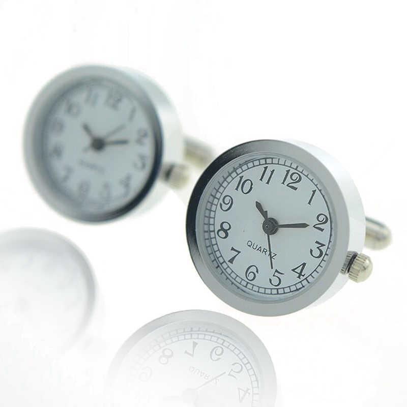 Классические часы стиль мужские запонки круглые настоящие часы запонки с батареей цифровой часы Бизнес Свадебная рубашка ювелирные изделия