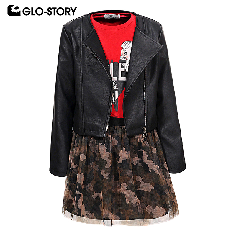 GLO-STORY Shipped From European Kids Girls Fashion Print Camouflage Ball  Gown Dress with Leather Jackets Sets Child Suits 7502GLO-STORY Shipped From European Kids Girls Fashion Print Camouflage Ball  Gown Dress with Leather Jackets Sets Child Suits 7502