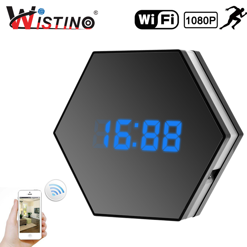 Wistino 1080P WIFI Mini Camera Time Alarm Wireless Nanny IP Camera CCTV Home Security Clock P2P Night Vision Motion Detection 1080p mini camera hd wifi clock camera time alarm p2p nanny motion detection night vision remote monitor wireless ip micro cam