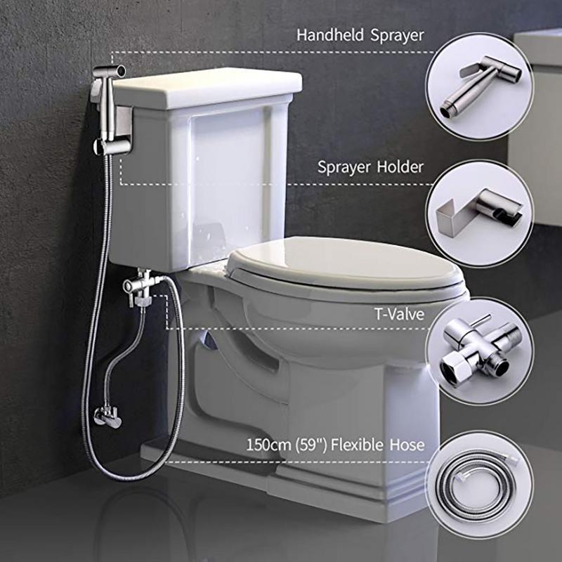 Adjustable Stainless Steel Toilet Spray Gun Set Small Shower Bidet Toilet Spray Cleaning Gun Toilet Seat Nozzle Accessory
