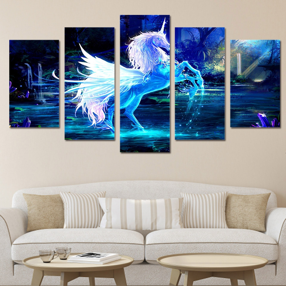 modern wall art frame canvas hd prints modular home decor pictures 5 piece unicorn horse. Black Bedroom Furniture Sets. Home Design Ideas