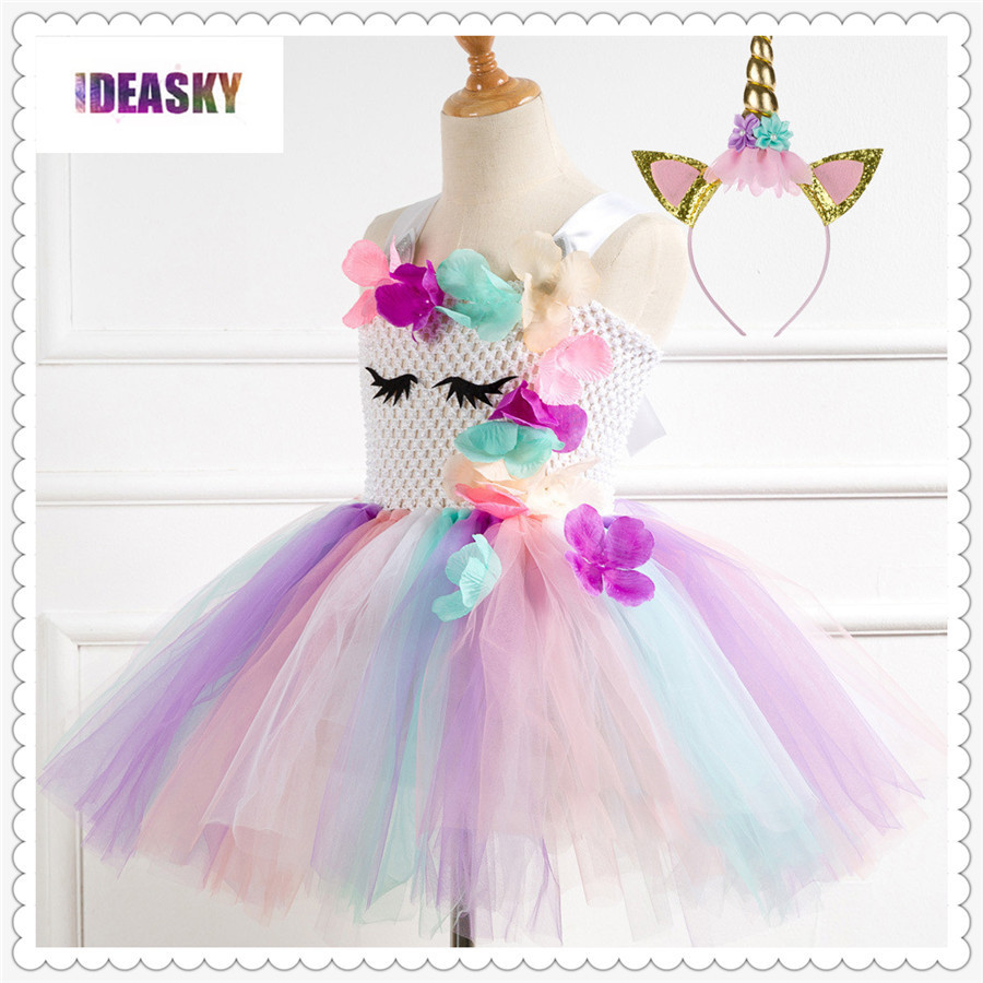 Flower Girl Unicorn Dress Princes Cosplay Fancy Costume for Kid/'s Birthday Party