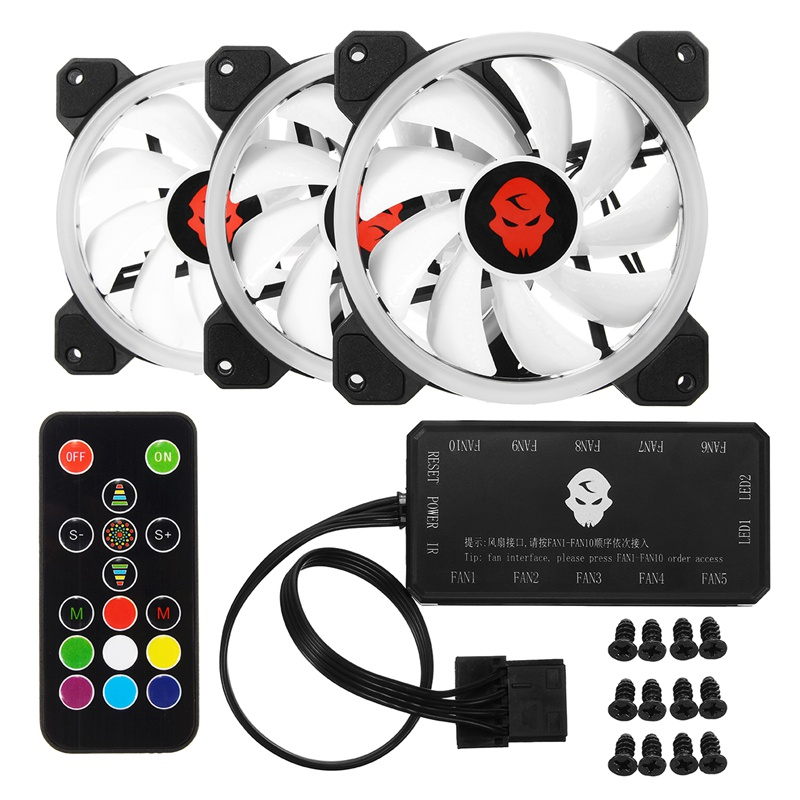 New 3pcs Computer Case PC Cooling Fan RGB Adjust LED 120mm Quiet + IR Remote High Quality Computer Cooling fan cooler For cpu computer cooler radiator with heatsink heatpipe cooling fan for hd6970 hd6950 grahics card vga cooler