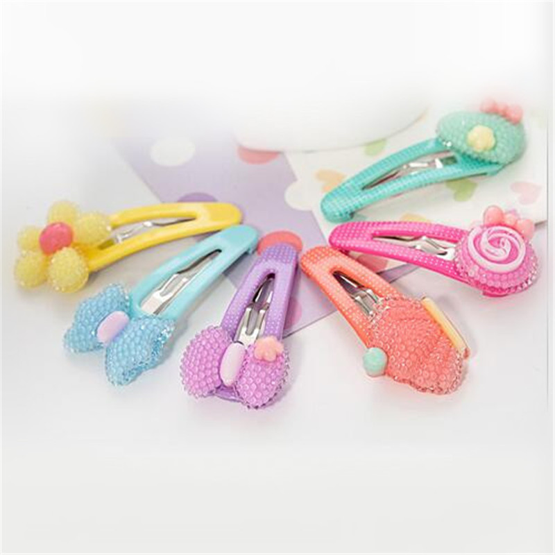 2016 Colorful Hair Clips Children Bow Hair Accessories Floral Crown Princess Resin Hairpins for Baby Girls