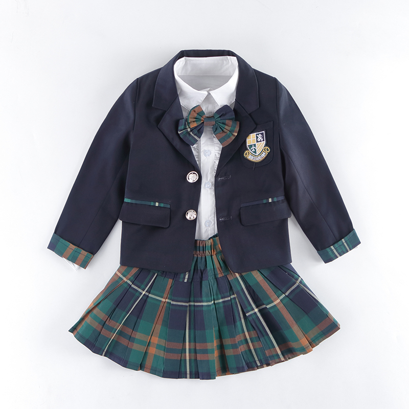 где купить Kids School Uniforms For Girls Boys School Uniform Suit Jackets Pockets New 2018 Cotton Skirt Jacket Pants School Uniform 2-10T по лучшей цене