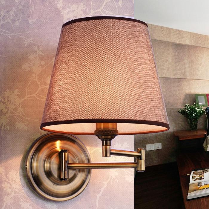 American bedroom bedside wall lamp with fabric Village Hotel Nordic wall light adjustable rocker ...