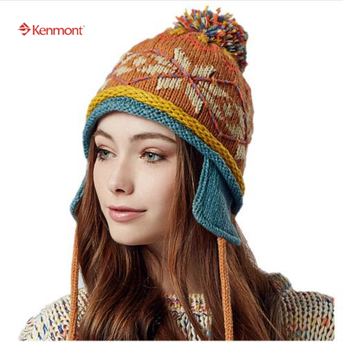 Kenmont Winter Women Lady Girl 100% Hand Knit Earflap Warm Ski Hat Beanie Cap Chic Vintage Gifts 1633 pentacle star warm skull beanie hip hop knit cap ski crochet cuff winter hat for women men new sale
