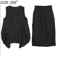 AZURE SHEN 2018 New Summer Round Neck Sleeveless Black Striped Irregular Half Body Skirt Two