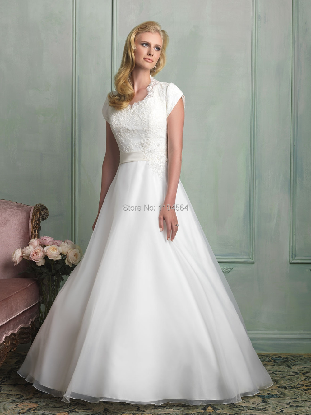 Modest High Back Wedding Dresses 2015 White Organza A Line Bridal Gowns Short Sleeve Vestidos De Noivas Top Lace Wh639: High Back Wedding Dress At Reisefeber.org