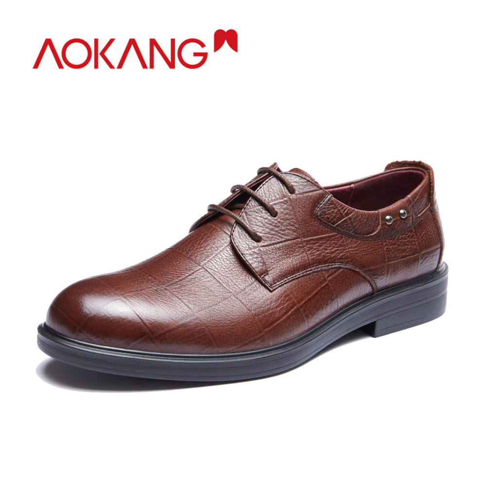 Image 2 - AOKANG New Arrival men dress shoes genuine leather men shoes brand shoes men brogue shoes high quality free shipping 193211002-in Formal Shoes from Shoes