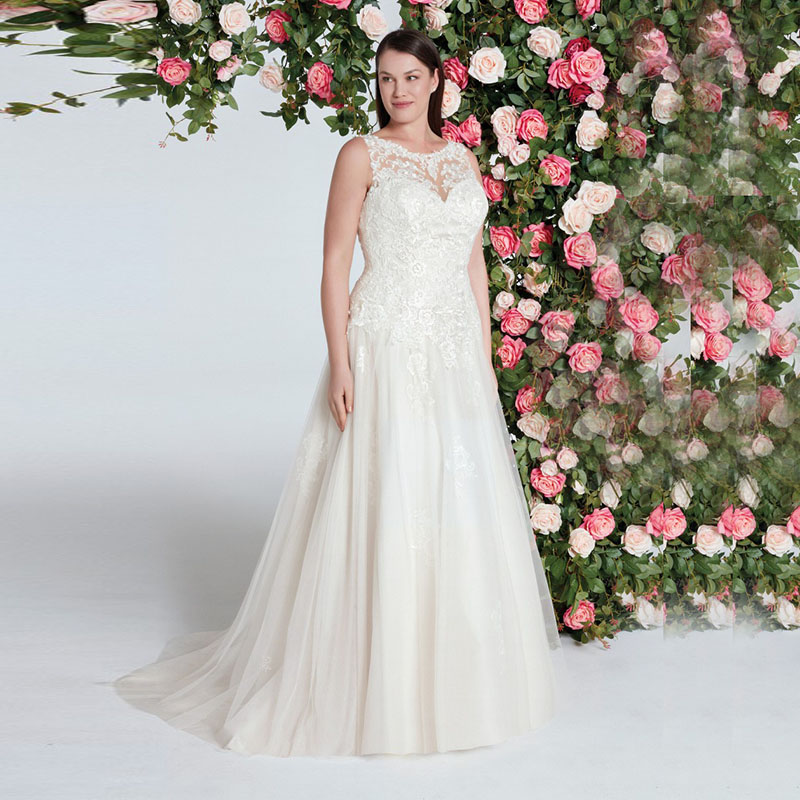 Eightale Plus Size Wedding Dress Boho O Neck Bridal Dress