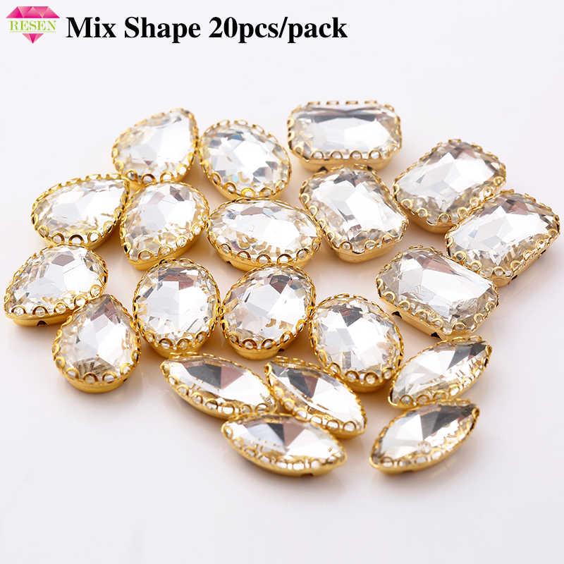 RESEN Promotion Price 20pcs lot Mix Shape Crystal Rhinestone Gold Claw  Flatback Sew On Claw e21eadce3f27
