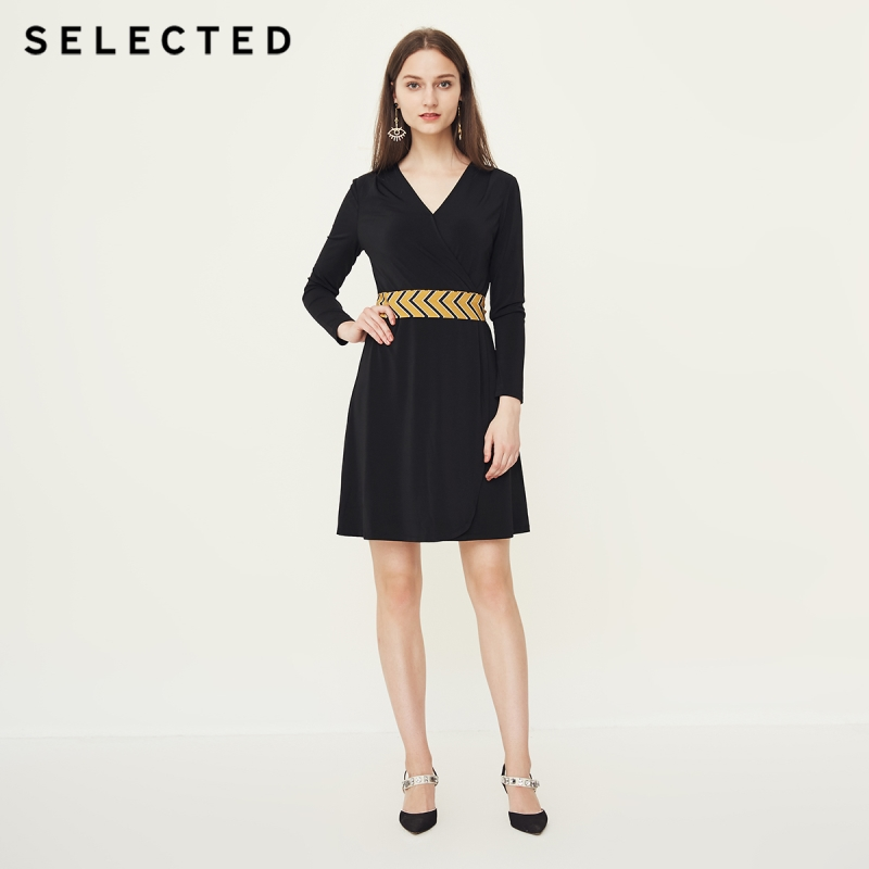 SELECTED Stretch Fabric V Neckline Dress S418361502-in Dresses from Women's Clothing    1