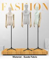 1pcs Lady mannequins Suede Fabric 4 colors with arm fashion dress Upper Body woman model for clothes cosmetology window Display