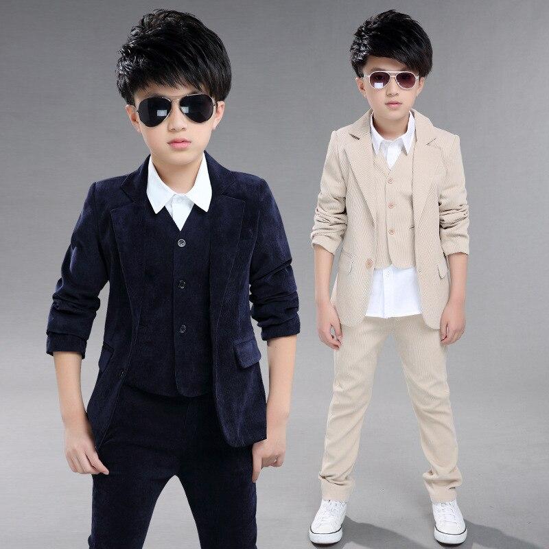 Children Spring Autumn Formal Suit Sets Kids Corduroy Blazer Vest Pants 3pcs Outfits Boys Party Performance Piano Costume spring outfits for kids