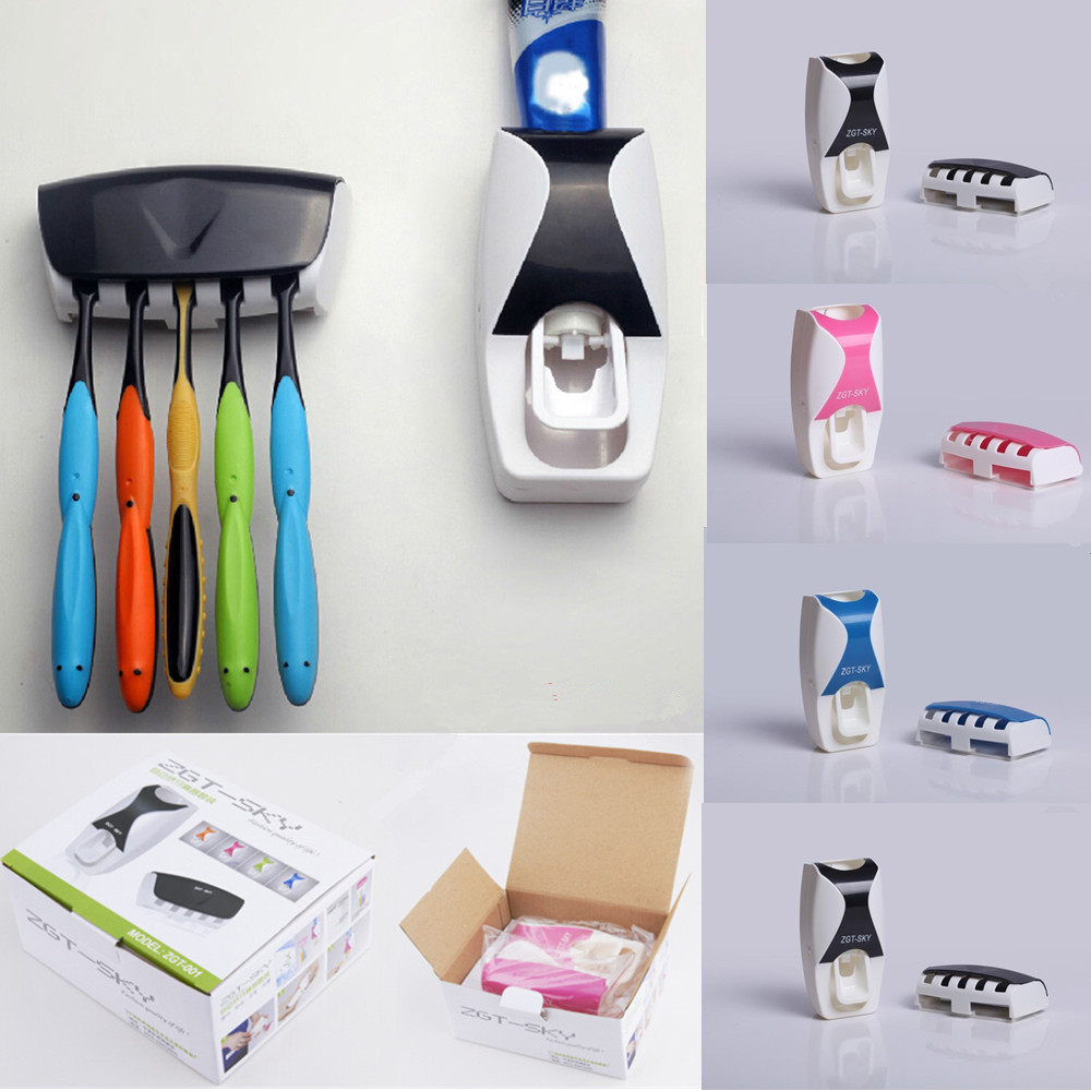 Automatic:  Home Wall Mount Rack Bathroom Automatic Toothpaste Dispenser 5 Position Toothbrush Holder Bathroom products Bath set with Box - Martin's & Co