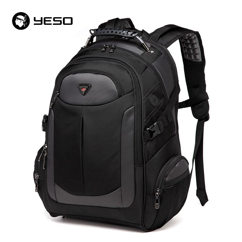 YESO абсолютно ноутбук рюкзак Для мужчин с дорожные сумки 2018 Многофункциональный рюкзак Водонепроницаемый Оксфорд черный компьютер рюкзаки для подростка