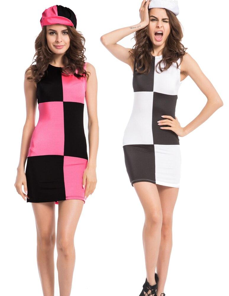 free shipping LADIES 60s Costume Black White Mod Retro 1960s Fancy Dress S M L XL 2XL