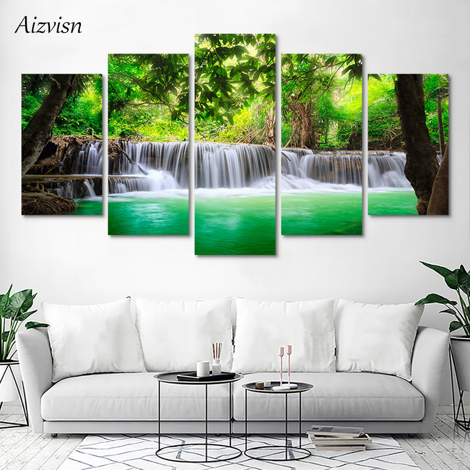 Waterfall Landscape Canvas Painting Poster Print Wall Art Picture Home Decor