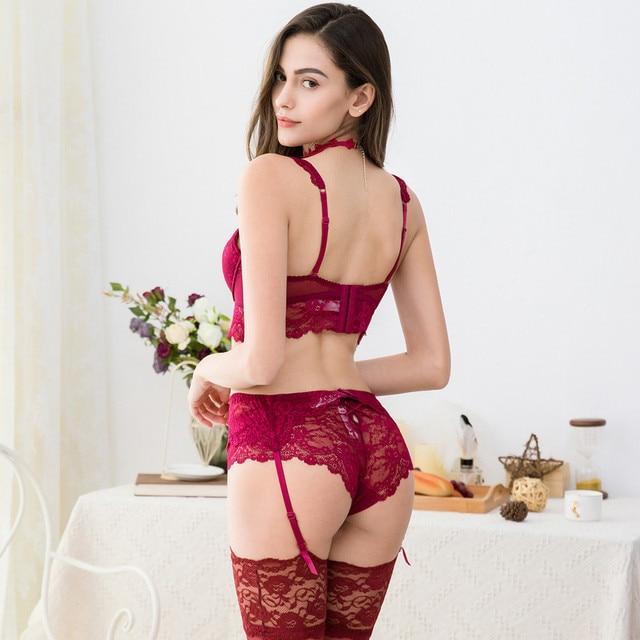 Sexy lace push up bra sets bra+panties+garter+stockings+necklace Christmas 5 Pcs/Lots 4