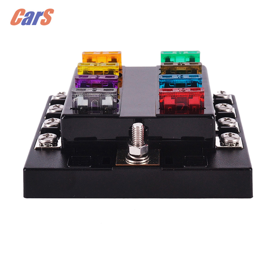 New Car Fuse Box  8 Way Circuit  32V DC Blade Fuse Holder Box Block with Pre-printed Sticker  for Car Boat Auto