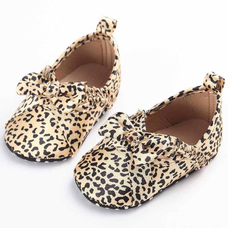 Infant Toddler Baby Girls Shoes Princess Mary Jane Leopard Big Bow Soft Soled Non-Slip Crib Bebe Fashion First Walker Footwear