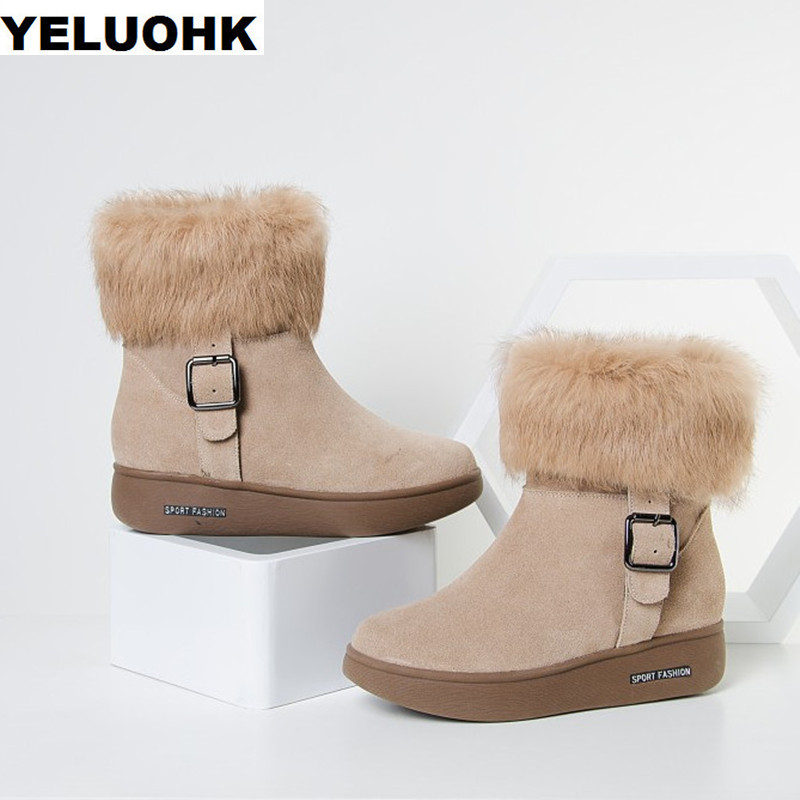 Brand Winter Boots Women Shoes With Fur Warm Snow Boots Platform Shoes Women Casual Genuine Leather Ankle Boots Women Plush zorssar 2017 new classic winter plush women boots suede ankle snow boots female warm fur women shoes wedges platform boots