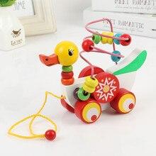 Educacional duckling reboque brinquedo mini em torno de contas jogo de aprendizagem multicor crianças de madeira puzzle bebê infantil brinquedo de madeira