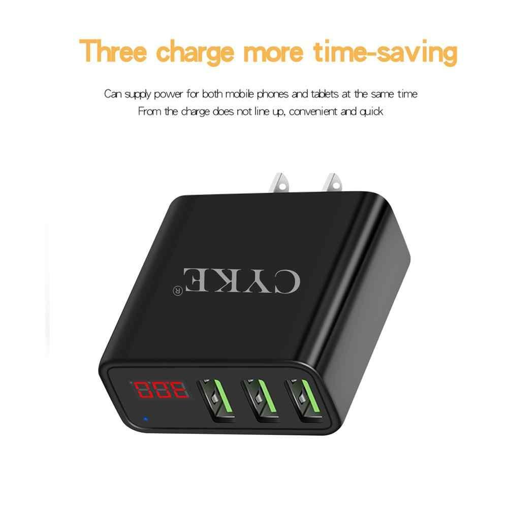 DSstyles 5 V 3A 3 Porta USB de Carregamento Rápido Carregador de Parede Adaptador de Energia Display LED para iPhone Samsung Mobile Phone