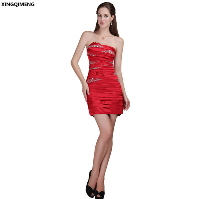 74f3626b6a Red Satin Beaded Sexy Strapless Cocktail Dresses Elegant Mini Cocktail  Dress Short Sexy Chic Beaded Backless Formal Party Gown