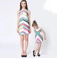 Family Matching Outfits Kids Boutique Graffiti Clothes Baby Girls Princess Dress Striped Children Clothing Wholesale 5pcs/LOT