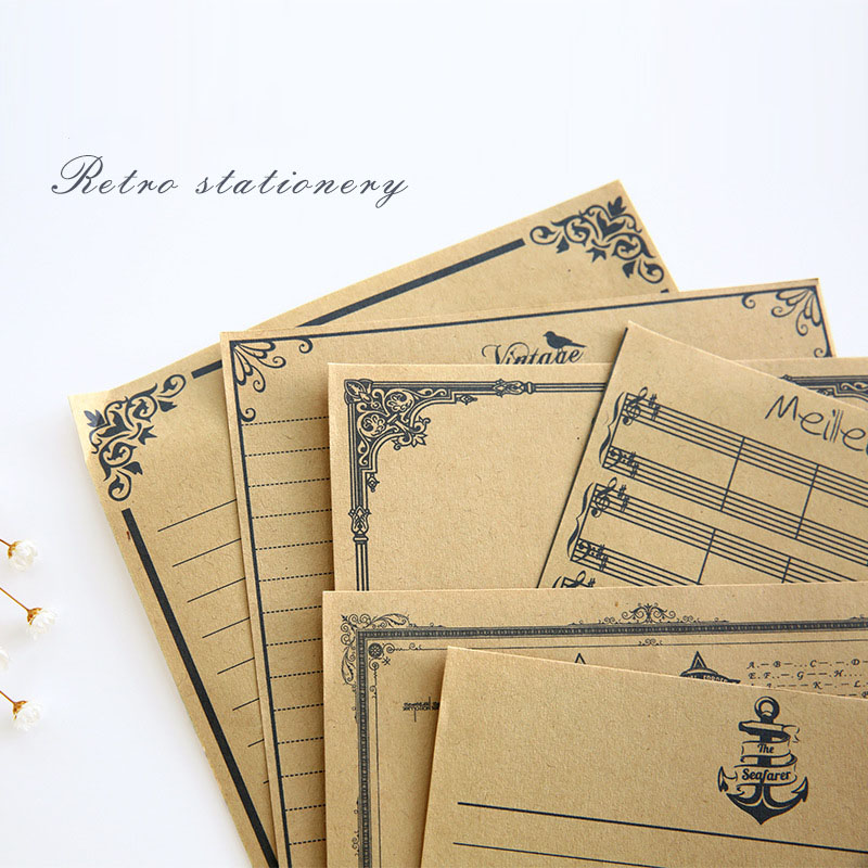 New Real Letter Pad 8 Sheets/set European Vintage Style Writing Paper Letter Good Quality Culture Stationery Kraft Office XZ04