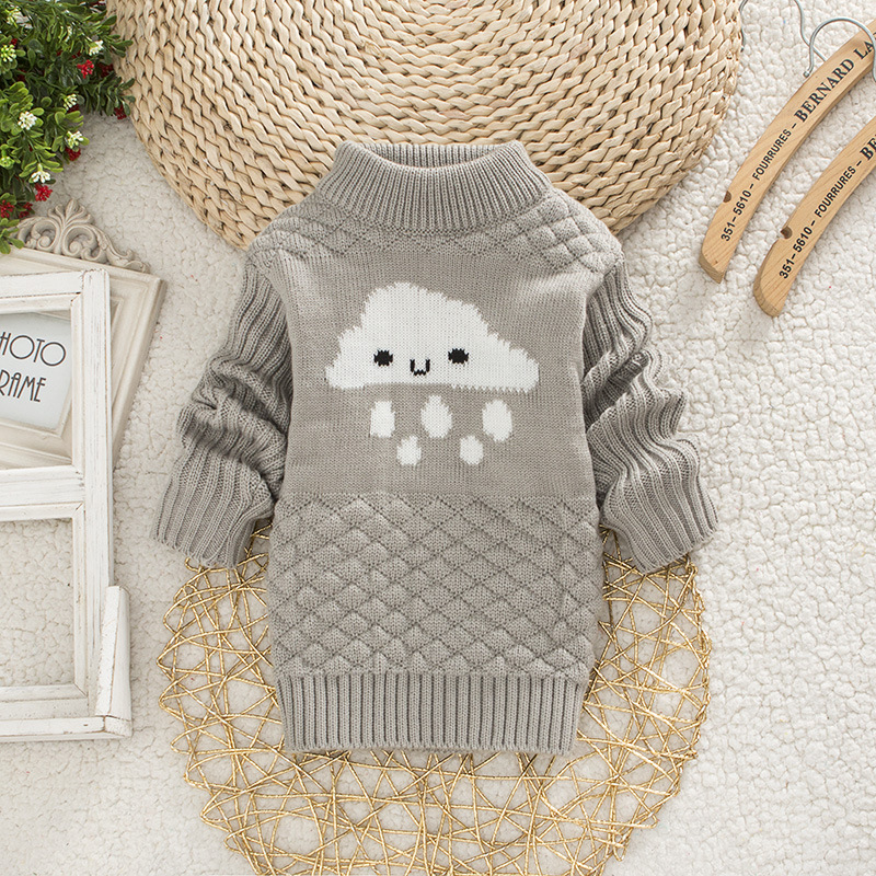 DIIMUU Baby Boys Girls Clothing Casual Print Winter Warm Long Sweater Kids Fashion Clothes Outdoor Leisure Tops 1-3 Years 7